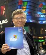 Microsoft chairman Bill Gates in New York at the launch of Windows XP, AFP