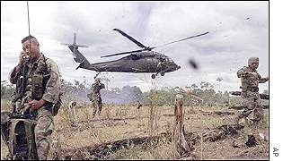 Helicopter and troops