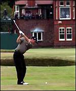Amateur Michael Hoey plays his second shot to the 18th green during the second round of the 2001 Open Championship at Royal Lytham & St Annes Golf Club