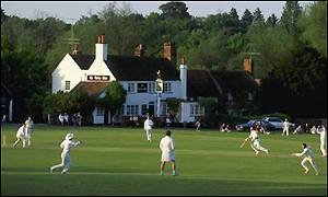 A village cricket game at Tilbury, Surrey