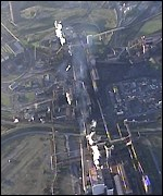 Aerial shot of blast furnace fire