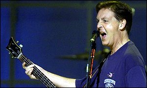 Sir Paul McCartney performing at a New York concert in aid of victims of 11 September's terrorist attacks