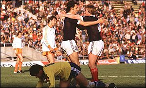 Joe Jordan and Kenny Dalglish embrace after Scotland go 1-0 up against Holland