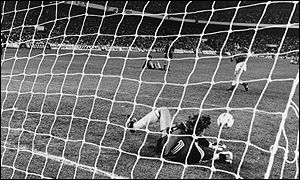 West German goalkeeper Harald Schumacher saves a penalty against France in the semi-final win