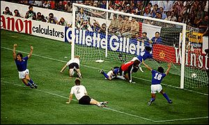 Italy take the lead against West Germany in the final after missing a first half penalty