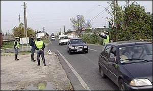 Police carry out a road check