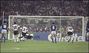 Andreas Brehme sidefoots home the decisive penalty in the final as West Germany beat Argentina 1-0