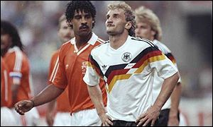 Holland's Frank Rijkaard and Germany's Rudi Voller both recieved their marching orders after a ugly spitting incident