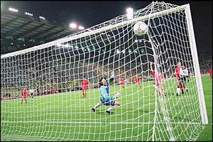 David Platt's volley arrows into the top corner of the Belguim goal to book England's passage into the quarter-finals