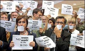 Protestors outside the opening session of the WTO meeting