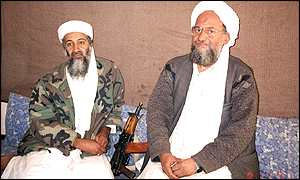 Osama Bin Laden (left) and al-Qaeda chief  Ayman al-Zawahri