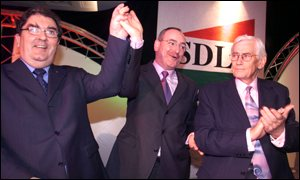 Mark Durkan (centre) is the new SDLP leader