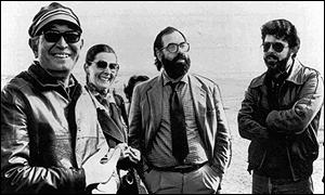 [ image: Kurosawa, left, with US directors George Lucas, right, and Francis Ford Coppola]