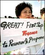 [ image: South Koreans from divided families support efforts at reconciliation]