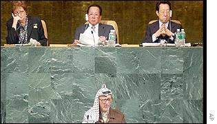 Palestinian leader Yasser Arafat waits to address UN General Assembly