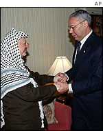 Yasser Arafat and Colin Powell in New York