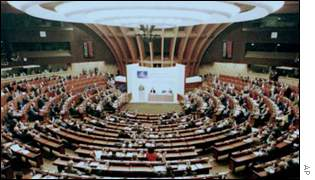 The Council of Europe debating chamber in Strasbourg, AP