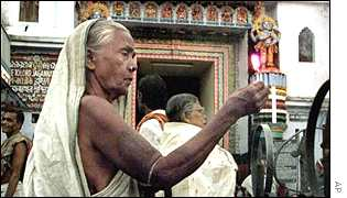 Devotee offers prayers at the Jagannath temple