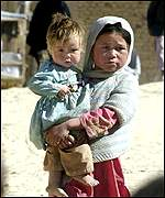 Afghan children refugees in a refugee camp in Quetta, Pakistan