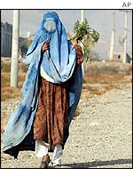 Afghan woman in traditional burka shroud