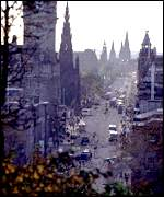 Princes Street in Edinburgh