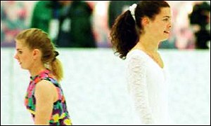 Tonya Harding and Nancy Kerrigan at the 1994 Winter Olympics