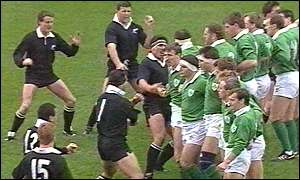 All Blacks captain Buck Shelford's Haka is intefrrupted by Ireland captain Willie Anderson back in 1989