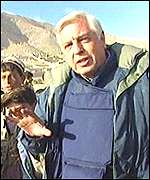 John Simpson walking into Kabul