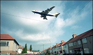 Plane over homes near Heathrow