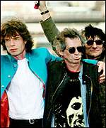 Mick with  Keith Richards and Ronnie Wood