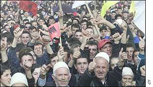 Ethnic Albanians at the election rally