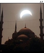 Solar eclipse over Blue Mosque