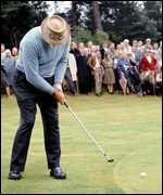 Sam Snead on the putting green