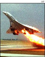Air France Concorde shortly before crashing near Paris