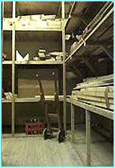 The shelves and equipment in the workshop