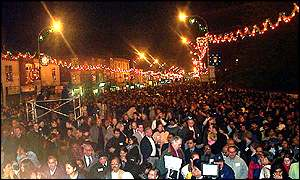 Crowds of people at Diwali celebrations in Leicester