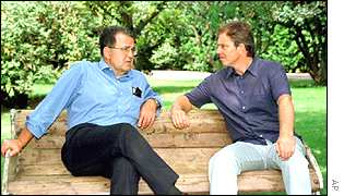 Romano Prodi with Tony Blair in Tuscany in 1999