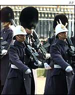 The Royal Gibraltar Regiment taking over guard duties at Buckingham Palace, London