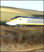 Eurostar racing through arable countryside