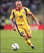 Romanian national manager Gheorghe Hagi in action