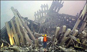 Remains of Twin Towers after the terror attacks
