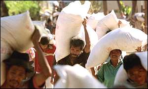 Food supplies are carried in East Timor