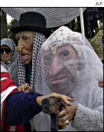 Right wing Israelis hold a mock wedding between Shimon Peres and Yasser Arafat