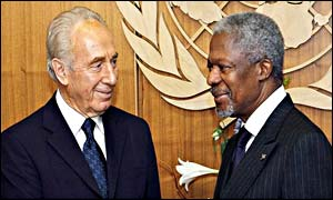 Israeli Foreign Minister Shimon Peres with UN Secretary General Kofi Annan