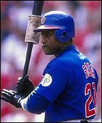 Sammy Sosa in action for the Chicago Cubs