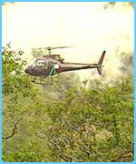 Helicopter hovers to get shots of the second film