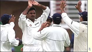 Javagal Srinath celebrates taking a wicket against South Africa
