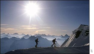 Skiers in the Swiss Alps