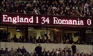 The scoreboard at Twickenham confirms England's biggest ever win