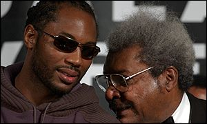Lennox Lewis with Don King after the fight